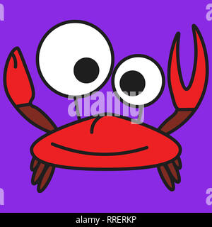 Crab in cartoon style. On color background,  illustration - Stock Photo