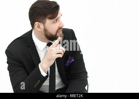 confident businessman sitting on office chair.photo with copy space - Stock Photo