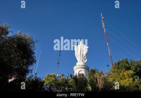 The Virgin Mary on the top of the Cerro San Cristóbal, (Tupahue, San Cristóbal Hill) in Santiago de Chile - Stock Photo