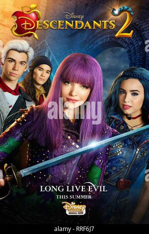 DESCENDANTS 2, CAMERON BOYCE, BOOBOO STEWART, DOVE CAMERON , SOFIA CARSON POSTER, 2017 - Stock Photo