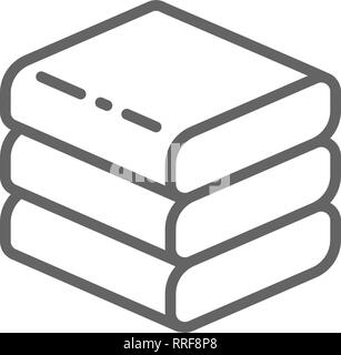 Stacked white towels line icon. Isolated on white background - Stock Photo