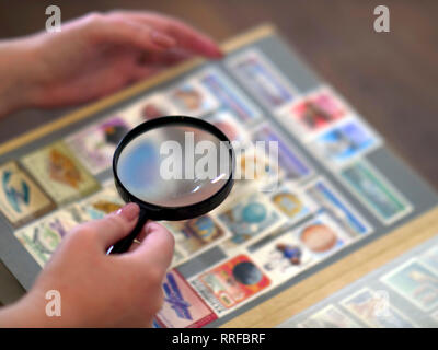 magnifier stamps album hand - Stock Photo