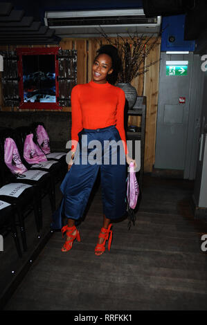 London, UK. 25th Feb, 2019. Analese Dayes seen during the Claudette The Brand X Lemonade Dolls, fashion show, hosted at 3-4 Archer Street in London. Credit: Terry Scott/SOPA Images/ZUMA Wire/Alamy Live News - Stock Photo