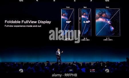 Beijing, China. 26th Feb, 2019. Richard Yu, CEO of Consumer Business Group of Chinese tech company Huawei, presents the new Mate X, a foldable 5G ready smartphone, ahead of the Mobile World Congress in Barcelona, Spain, Feb. 24, 2019. Credit: Xinhua/Alamy Live News - Stock Photo