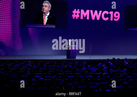 Barcelona, Spain. 26th Feb, 2019. Thomas Bach, President of the International Olympic Committee, speaks at an event at Mobile World Congress. Credit: Clara Margais/dpa/Alamy Live News - Stock Photo