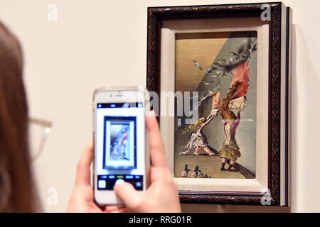 London, UK. 26th Feb, 2019. Tate Modern unveils major exhibition of pioneering artist Dorothea Tanning, the first large-scale exhibition of her work for 25 years. Children's Games, 1942 Credit: Nils Jorgensen/Alamy Live News - Stock Photo