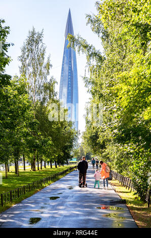 Saint Petersburg, Russia - August 7, 2018: Skyscraper Lakhta Center of Gazprom is the highest in Russia and Europe - Stock Photo