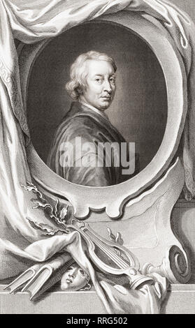 John Dryden, 1631 - 1700. English poet, dramatist and literary critic.  From the 1813 edition of The Heads of Illustrious Persons of Great Britain, Engraved by Mr. Houbraken and Mr. Vertue With Their Lives and Characters. - Stock Photo
