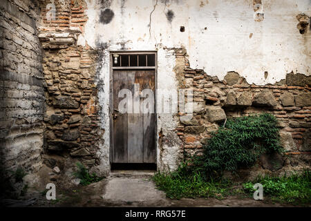 Abandoned wall with wooden door and bush in Antigua, Guatemala, Central America - Stock Photo