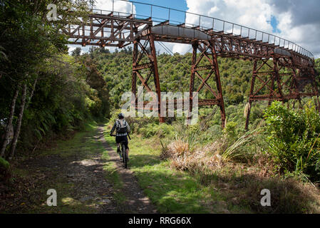 Biking tour on the trail, Oamaru, North Island, New Zealand. - Stock Photo