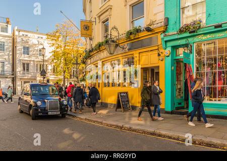 A street scene on Portobello Road, in Notting Hill, London, England, United Kingdom, Europe - Stock Photo
