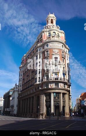 2014-Valencia.Spain. Headquarters building of the old Banco de Valencia in Las Barcas street in the capital of Valencia. This building was built in 19 - Stock Photo