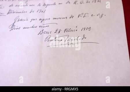 Signature of Machado in a letter in Classroom of Antonio Machado, Baeza, Jaen province, Andalucia, Spain - Stock Photo