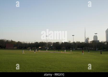 Dubai-Zabeel Park players at the Cricket Ground - Stock Photo