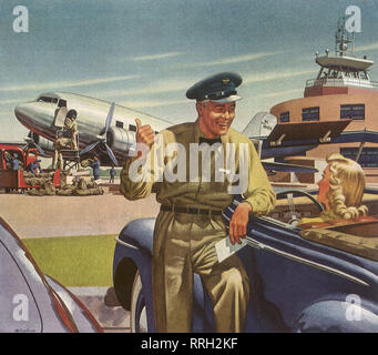 Air Postman chats with Woman in Car. - Stock Photo