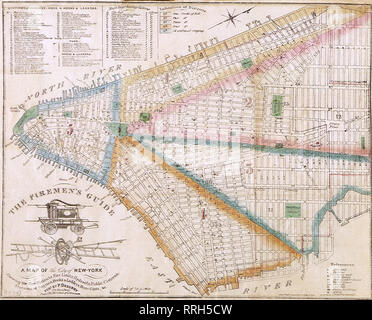 The Fireman's Guide Insurance Map of New York City 1834. - Stock Photo