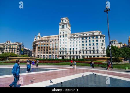 Placa de Catalunya, a large public square in the city centre of Barcelona, Catalonia (Catalunya), Spain, Europe - Stock Photo