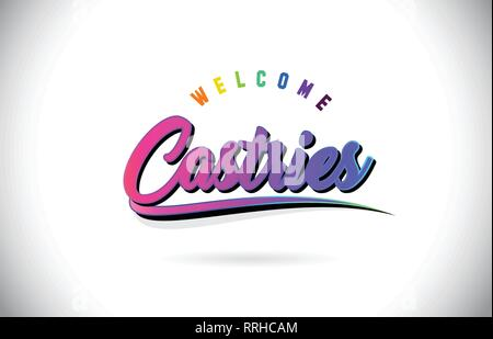 Castries Welcome To Word Text with Creative Purple Pink Handwritten Font and Swoosh Shape Design Vector Illustration. - Stock Photo