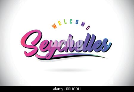 Seychelles Welcome To Word Text with Creative Purple Pink Handwritten Font and Swoosh Shape Design Vector Illustration. - Stock Photo