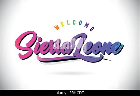 SierraLeone Welcome To Word Text with Creative Purple Pink Handwritten Font and Swoosh Shape Design Vector Illustration. - Stock Photo