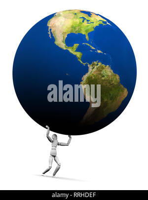 High resolution raytraced 3D render of Earth globe being lifted by a mannequin. This is the Americas version. 3D illustration isolated on white backgr - Stock Photo