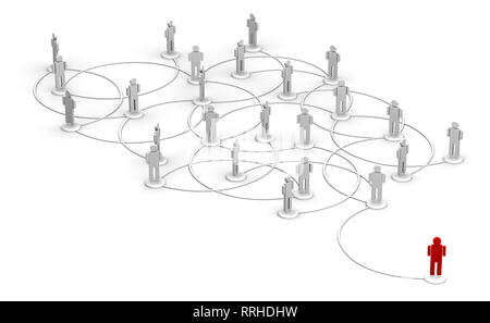 High resolution 3D illustration of one red person linked to a network of people.