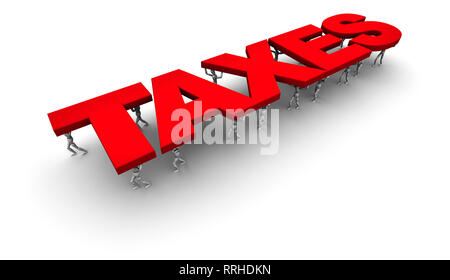 3D Illustration of People Carrying the word Taxes. 3D illustration isolated on white background. - Stock Photo