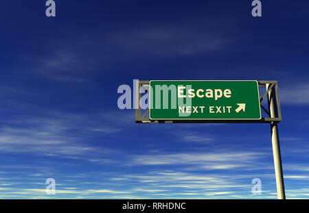 Super high resolution 3D render of freeway sign, next exit... Escape! - Stock Photo