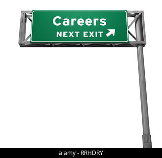 Careers Freeway Exit Sign. 3D illustration isolated on white background. - Stock Photo