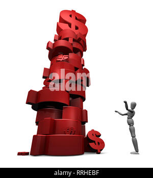 3D render of dumbfounded mannequin standing by a stack of red $ dollar symbols. - Stock Photo