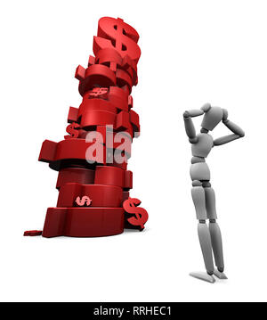 Alternate angle - 3D render of dumbfounded mannequin standing in front of a stack of red $ dollar symbols. - Stock Photo