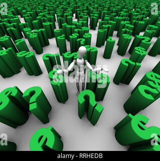 3D render of confused mannequin standing in a sea of green question marks and $ dollar symbols. - Stock Photo