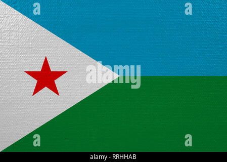 Djibouti flag on canvas. Patriotic background. National flag of Djibouti - Stock Photo