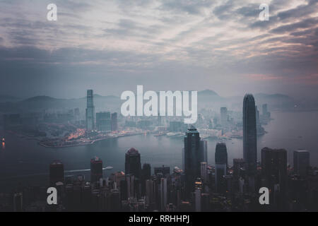 Misty morning view at Hong Kong City. view from Victoria Peak