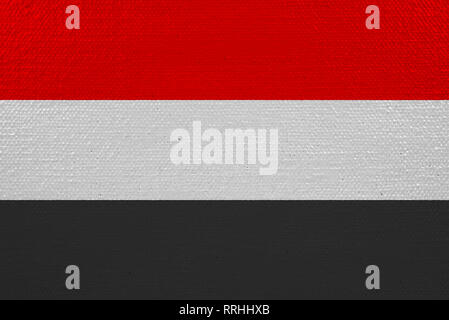 yemen flag on canvas - Stock Photo