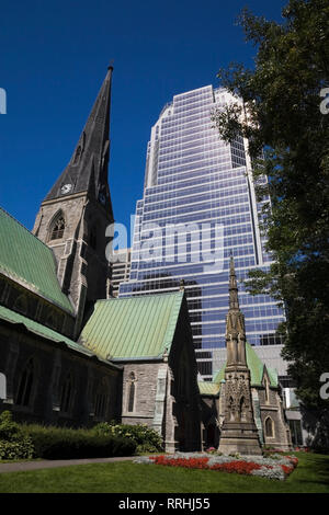 Christ Church Cathedral and Promenades de la Cathedrale office tower, Montreal, Quebec, Canada - Stock Photo