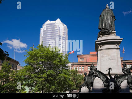 Edward VII monument in Phillips Square, Montreal, Quebec, Canada - Stock Photo