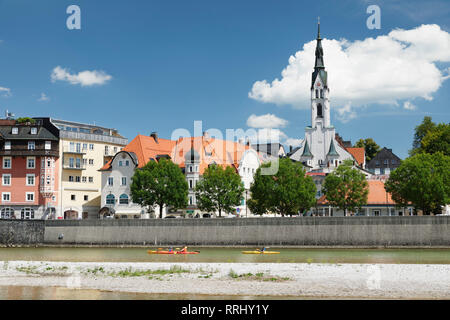 View over Isar River to Bad Toelz, Upper Bavaria, Bavaria, Germany, Europe - Stock Photo