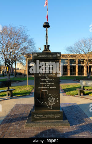 Brazos Valley Vietnam Memorial located outside the Clara B. Mounce Public Library in Bryan, Texas, USA. - Stock Photo
