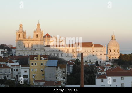 Sao Vicente de Fora Monastery as seen from the Portas do Sol Viewpoint in the Alfama, Lisbon, Portugal - Stock Photo