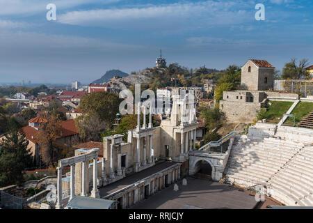 Roman theatre of ancient Philippopolis, Plovdiv, Bulgaria, Europe - Stock Photo