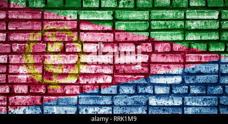 National flag of Eritrea on a brick background. Concept image for Eritrea: language , people and culture. - Stock Photo