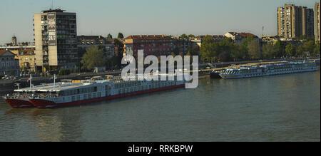 NOVI SAD, SERBIA - September 21th 2018 - View at Danube and City of Novi Sad pier with boats - Stock Photo