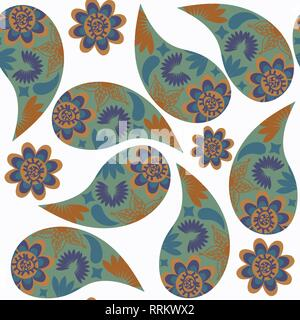 Paisley seamless pattern in green, brown and dark blue colors on white background. It is located in swatch menu, vector - Stock Photo