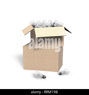 Stack of open cardboard box with light bulbs, isolated on white background, 3D illustration. - Stock Photo
