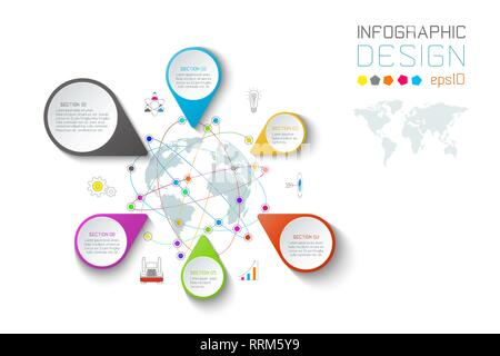 Business pointing labels shape infographic around the world map. - Stock Photo