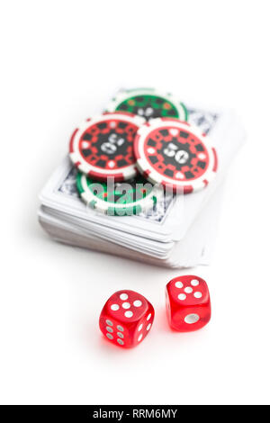 Dice and poker chips isolated on white background. - Stock Photo