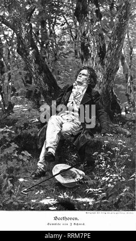 Beethoven, Ludwig van, 17.12.1770 - 26.3.1827, German composer, half length, sitting in the forest, wood engraving, from 'Die Gartenlaube', 1905, after a painting by Julius Schmid (1854 - 1935),, Additional-Rights-Clearance-Info-Not-Available - Stock Photo