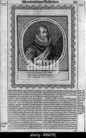 Christian IV., 12.4.1577 - 28.2.1648, King of Denmark 1588 - 1648, portrait, copper engraving, 17th century, Additional-Rights-Clearance-Info-Not-Available - Stock Photo