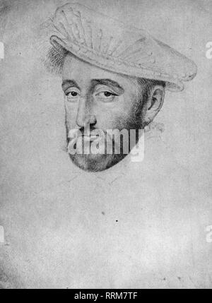 Henry II, 31.3.1519 - 10.7.1559, King of France, 1547 - 1559, portrait, drawing, by Francois Clouet, 16th century, Additional-Rights-Clearance-Info-Not-Available - Stock Photo